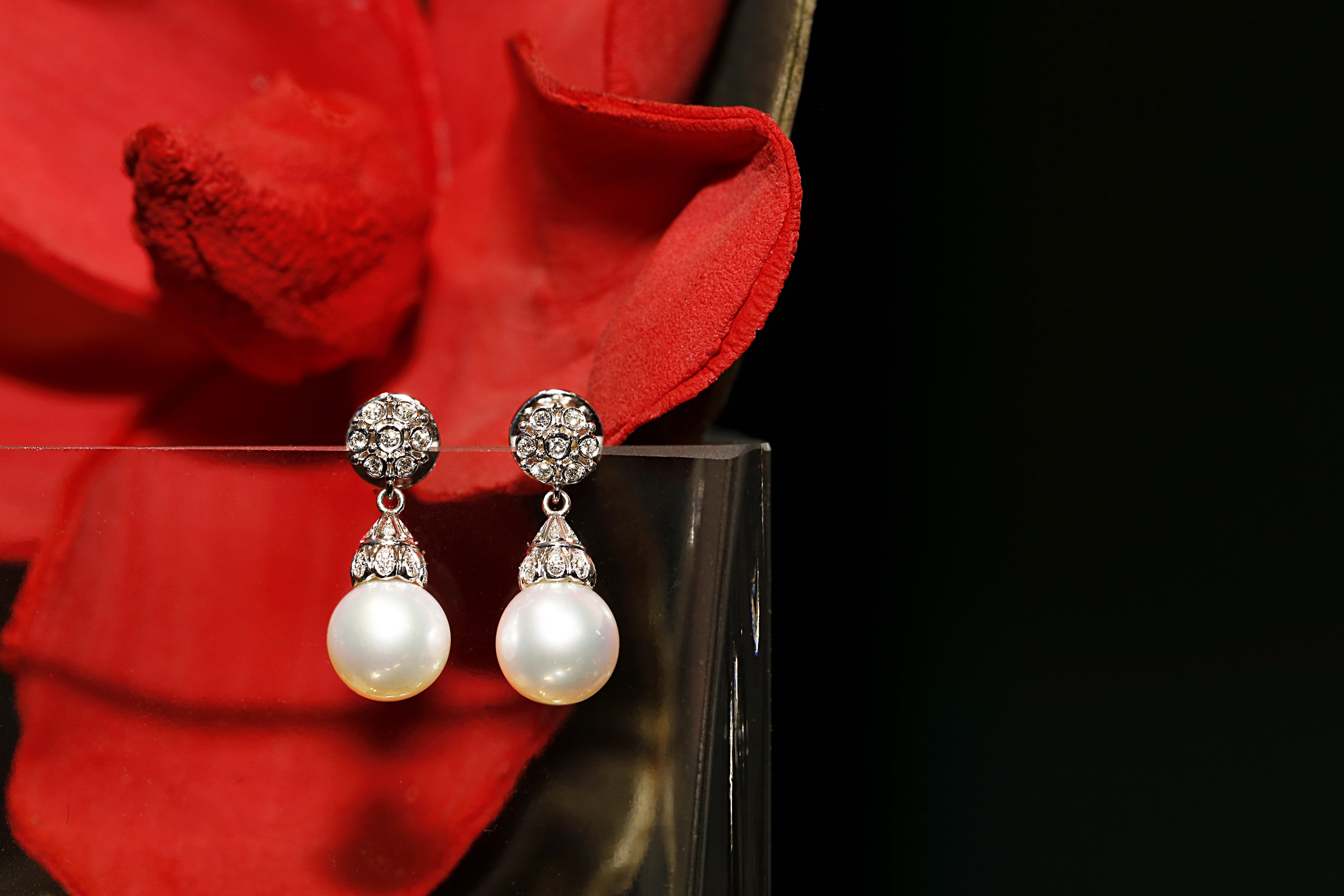 訂製珠寶_珍珠鑽耳環